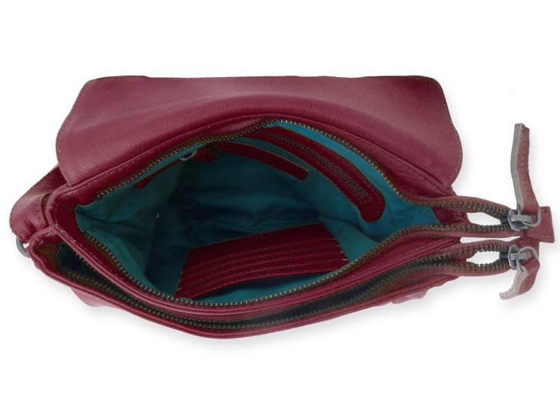 Sticks and Stones - Ledertasche Columbia Bag - Mulberry Red Innenansicht