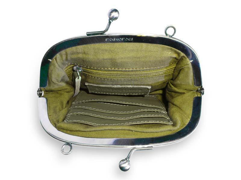 Sticks and Stones - Abendtasche Como - Ivy Green - Innenansicht
