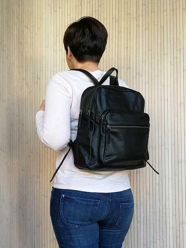 Sticks and Stones - Lederrucksack Francisco Backpack - Black als Rucksack