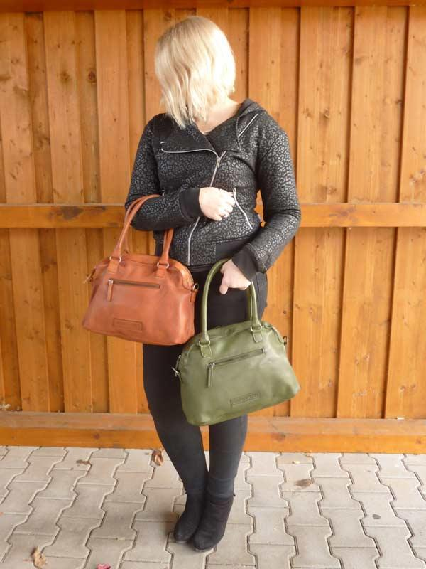 Sticks and Stones - Handtasche Frascati Bag - Dark Olive und Cognac