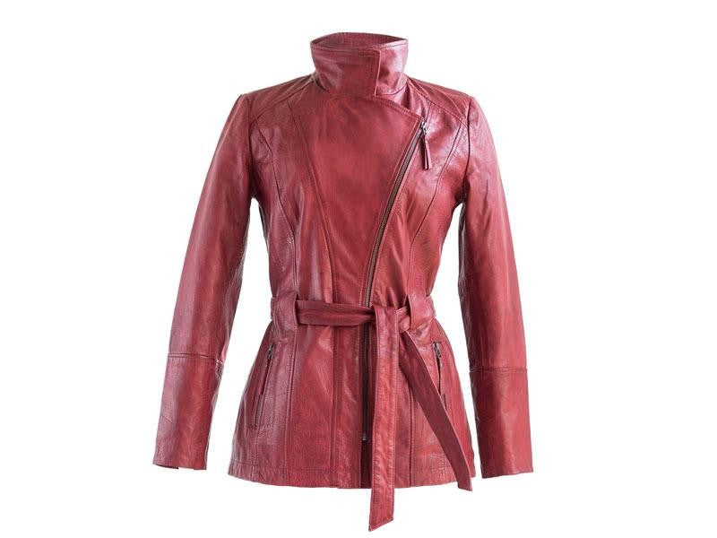 Sticks and Stones - Lederjacke Helsinki - Cherry Red geschlossen
