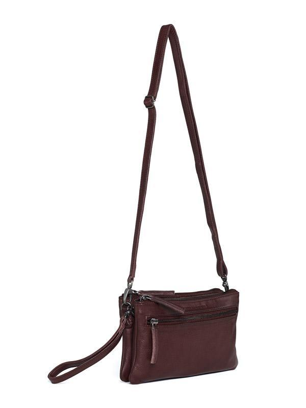 Sticks and Stones - Ledertasche Ibiza - Burgundy Seitenansicht
