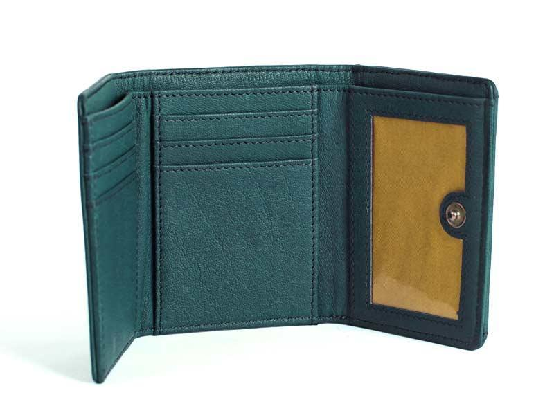Sticks and Stones - Lederbörse Merida Wallet - Dusty Petrol Innenansicht
