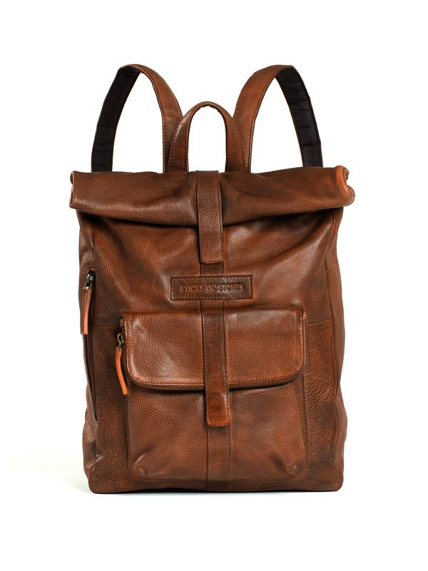 Sticks and Stones - Lederrucksack Messenger - Cognac