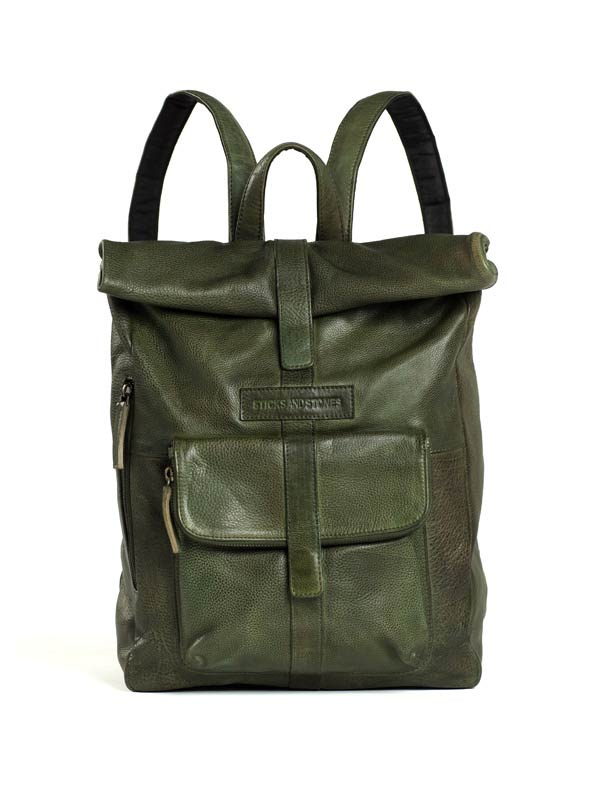Sticks and Stones - Lederrucksack Messenger - Dark Olive