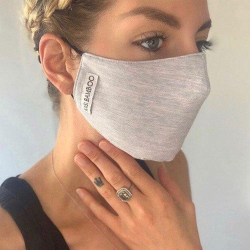 Bamboo Face Mask - Light Heather Grey (with black bamboo bag)