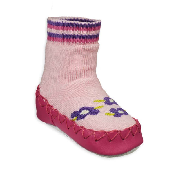 Nowali Moccasins Pink With Purple Flower
