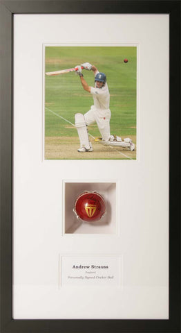 Andrew Strauss Signed Cricket Ball Presentation