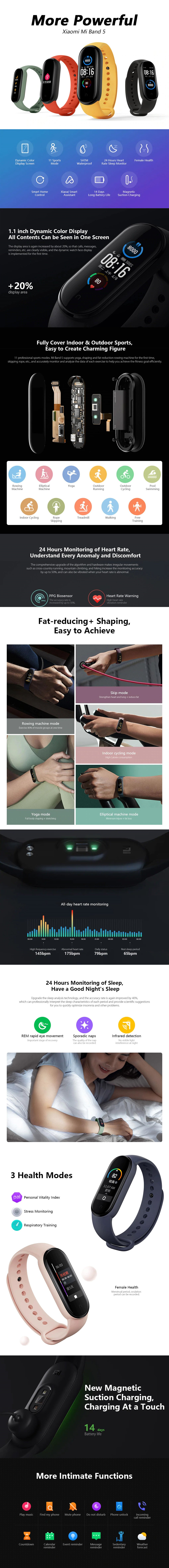 Global Version Xiaomi Mi Band 5 Smart Bracelet 5 Color AMOLED Screen Miband 5 Smartband Fitness Traker Bluetooth Waterproof