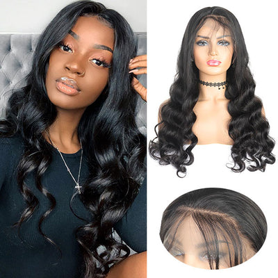 loose wave human hair wigs 4*4 lace closure wig