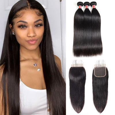 Brazilian Straight Hair With 4*4 Lace Closure 100% Unprocessed Human Hair