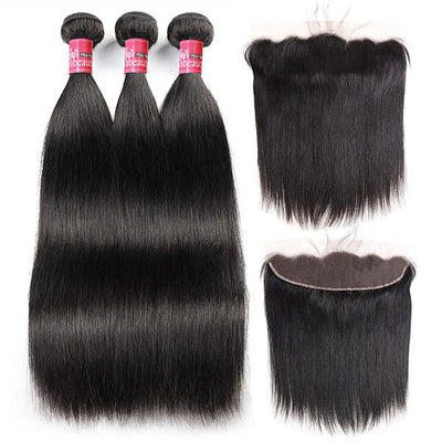 Virgin Peruvian Straight Hair Bundles with 13*4 Lace Frontal on Sale
