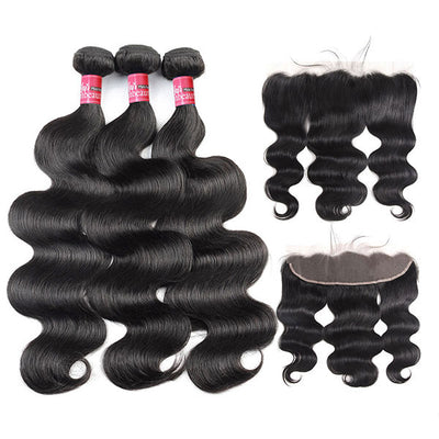 Mink 8A Brazilian Virgin Hair Body Wave 3 Bundles with 13X4 Lace Frontal
