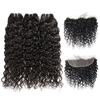 Brazilian hair High Quality Virgin Natural Wave Hair 3 Bundles With 13*4 Lace Frontal In Stock
