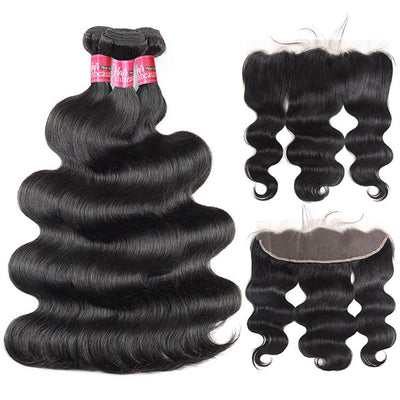 High Quality Virgin Body Wave 3 Bundles With 13*4 Lace Frontal Virgin Human Hair Exte