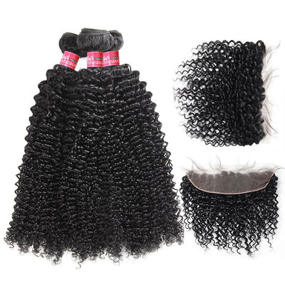 High Quality Virgin Curly Hair 3 Bundles With 13*4 Lace Frontal In Stock  Hair Color: Natural Black Color