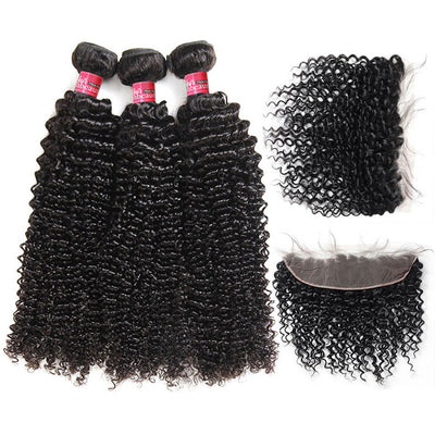 8A Grade Brazilian Kinky Curly Hair 4 Bundles with 13*4 Frontal