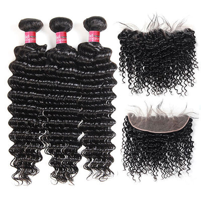 Brazilian Hair 3 Bundles Deep Wave with 13X4 Frontal,High Quality Virgin Deep Wave Hair 3 Bundles With  Lace Front