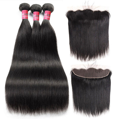 Mink Malaysian Straight Hair 4 Bundles with 13*4 Lace Frontal