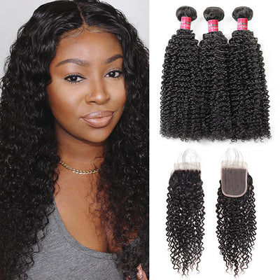 Best Selling Mongolian Jerry Curly 3 Bundles With 4*4 Inch Lace Closure Virgin Human Hai