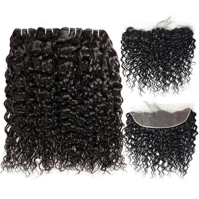 High Quality Virgin Natural Wave Hair 4 Bundles With 13*4 Lace Frontal