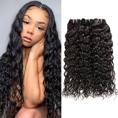 High Quality 100% Natural Curls Virgin Human Hair Extensions Natural Color 4 Bundles Full Head Water Wave Hair