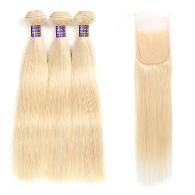 613 Blonde Color Brazilian Straight Hair With 4*4 Lace Closure 100% Unprocessed Human Hair