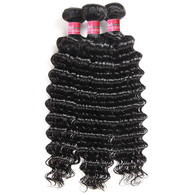 High Quality  Virgin Peruvian Hair Deep Wave Hair 3 Bundles Human Hair Extension Natural Color