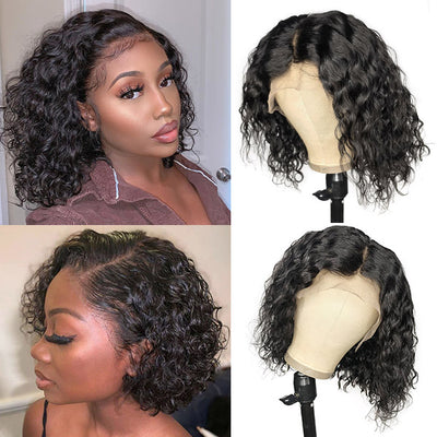 Water Wave Wig Short Hair Wigs Lace Front Bob Wig Human Hair Wavy Bob Wigs Natural Wave Hair