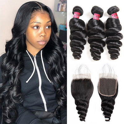 Brazilian Loose Wave With 4*4 Lace Closure 100% Unprocessed Human Hair Extension