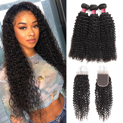 Peruvian hair Kinky Curls With 4*4 Lace Closure 100% Unprocessed Human Hair Extension