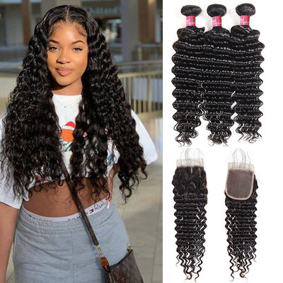 Indian Hair Deep Wave With 4*4 Lace Closure 100% Unprocessed Human Hair Extension