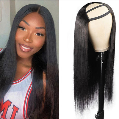 High Quality U Part Human Hair Wig Natural Color Machine Made Wig Glueless Virgin Straight Wig