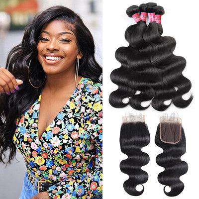 Indian Body Wave With 4*4 Lace Closure 100% Unprocessed Human Hair Extension