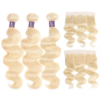 613 Blonde Color High Quality Virgin Body Wave Hair 3 Bundles With 13*4 Lace Frontal In Stock