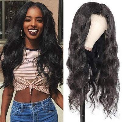 Transparent HD Middle T Part Lace Wigs Body Wave Human Hair With Natural Baby Hair Wigs