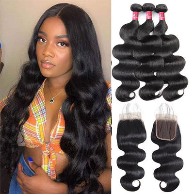 Mink Hair Virgin Brazilian Body Wave Human Hair 3 Bundles With 5*5 Lace Closure