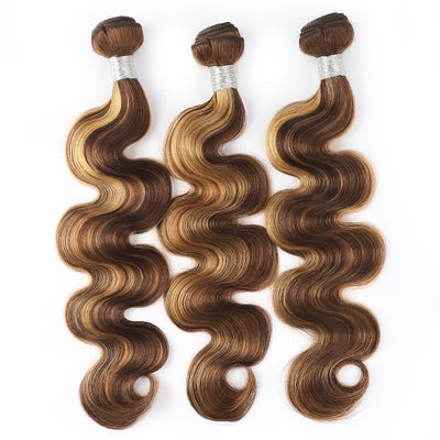 Honey Blonde Highlight Ombre Color Body Wave 3 Bundles Human Hair Weave