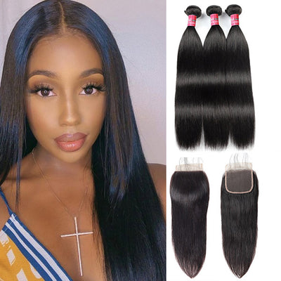 Mink Hair Virgin Brazilian Straight Hair 3 Bundles With 5*5 Lace Closure