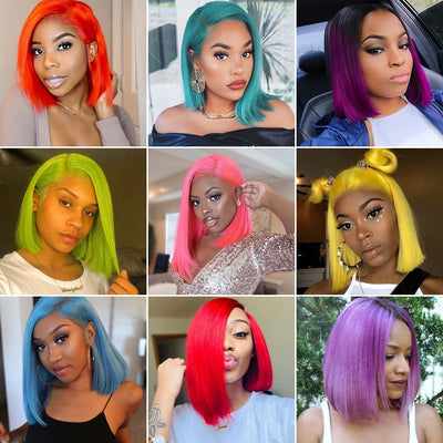#613 Blonde Color Short Bob Lace Front Human Hair Human Hair Wigs Pre Plucked Colorful Lace Front Wig High Density Lace Wig With Baby Hair Short Bob Wig