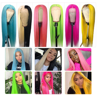 100% Virgin Human Hair Wigs,Colorful Straight,Body Wave Lace Front Wig
