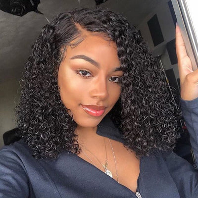 100% Virgin Human Hair Wigs,Short Bob Jerry Curls Lace Front Wig