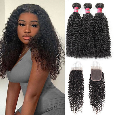 Mink Hair 100% Virgin Brazilian Human Hair Curly Wave 3 Bundles With 5*5 Lace Closure