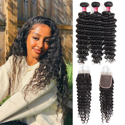 Peruvian Deep Wave With 4*4 Lace Closure 100% Unprocessed Human Hair Extension