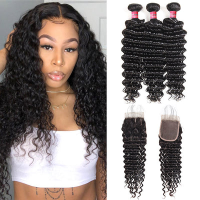 Brazilian Deep Wave With 4*4 Lace Closure 100% Unprocessed Human Hair Extension