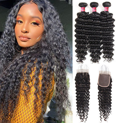 Mink Hair 100% Virgin Brazilian Deep Wave Human Hair 3 Bundles With 5*5 Lace Closure