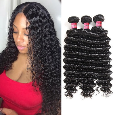 High Quality Indian Deep Curly Hair Weave 3 Bundles Deep Wave Human Hair Weave