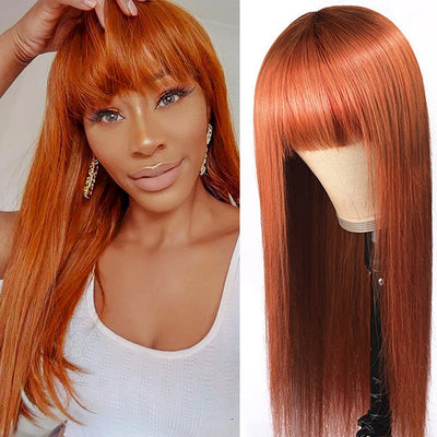Ginger Color Straight Breathable Machine Made Glueless Wig With Bangs