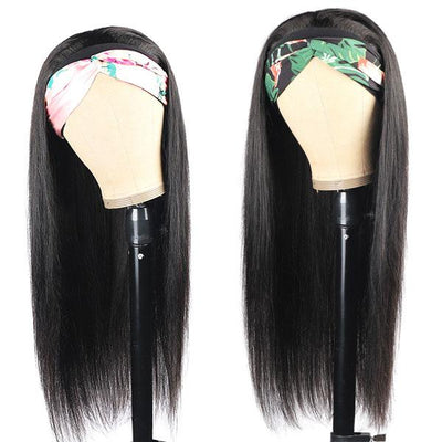 Straight Hair Headband Wig Brazilian Remy Hair Glueless Wig Natural Black