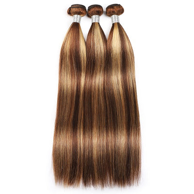 Honey Blonde Highlight Ombre Color Silky Straight Hair 3 Bundles Human Hair Weave